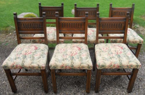 Set of Six Oak Tudor Style Dining Chairs by Old Charm